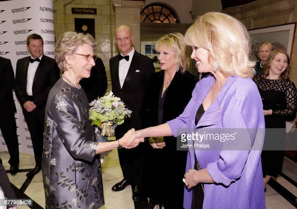 Birgitte Duchess of Gloucester is greeted by Jennifer Saunders and Joanna Lumley as they attend during the Speedo Hope for Youth Charity Event at...
