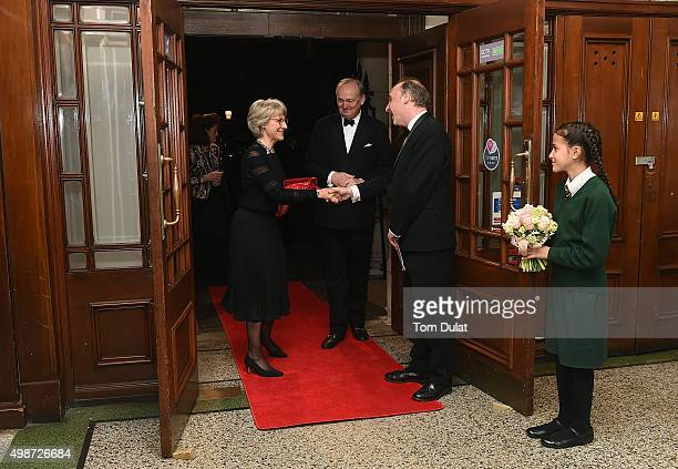 Birgitte Duchess of Gloucester is greeted by Viscount Crichton at the House of Commons v House of Lords Speedo Charity Swim Gala Dinner at Porchester...