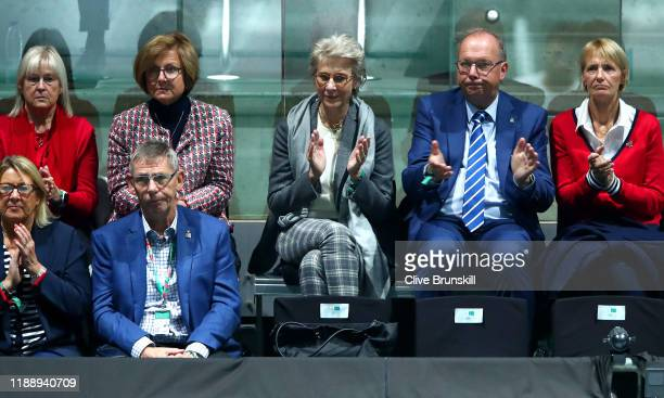 Birgitte Duchess of Gloucester is seen in the stands during the Davis Cup Doubles Group Stage Match between Neal Skupski and Jamie Murray of Great...