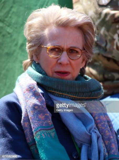 Birgitte Duchess of Gloucester looks on during the Fed Cup World Group II Play Off match between Great Britain and Romania on April 22 2017 in...