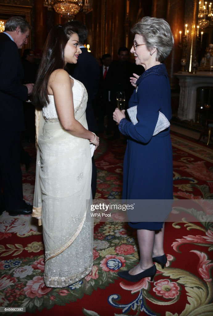 Birgitte, Duchess of Gloucester speaks to Ayesha Dharker (L) at a reception to mark the launch of the UK-India Year of Culture 2017 on February 27, 2017 in London, England.