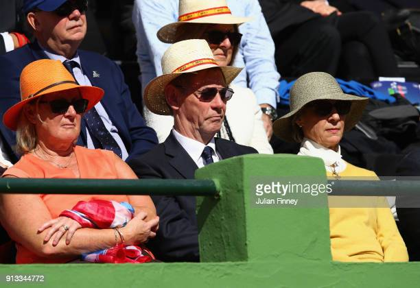 Birgitte Duchess of Gloucester with the LTA president Martin Corrie watches play during day one of the Davis Cup World Group first round match...