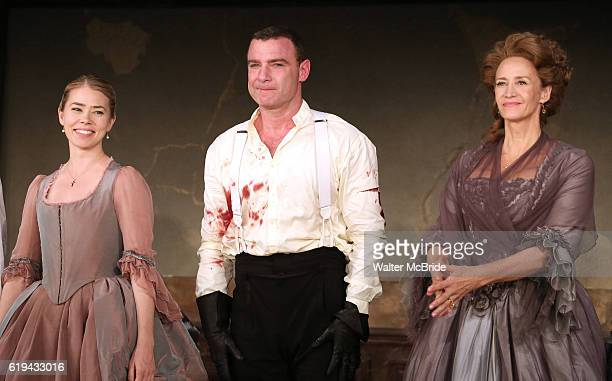 Birgitte Hjort Sorensen Liev Schreiber and Janet McTeer during the Broadway Opening Night Performance curtain call bows for 'Les Liaisons...