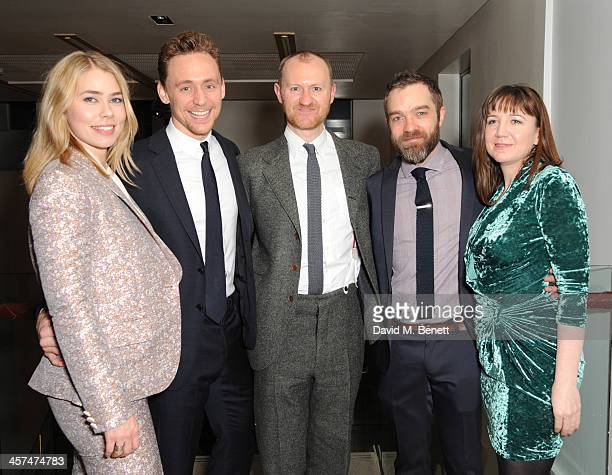 Birgitte Hjort Sorensen Tom Hiddleston Mark Gatiss Hadley Fraser and Josie Rourke attend the after party on the press night of Coriolanus at The...
