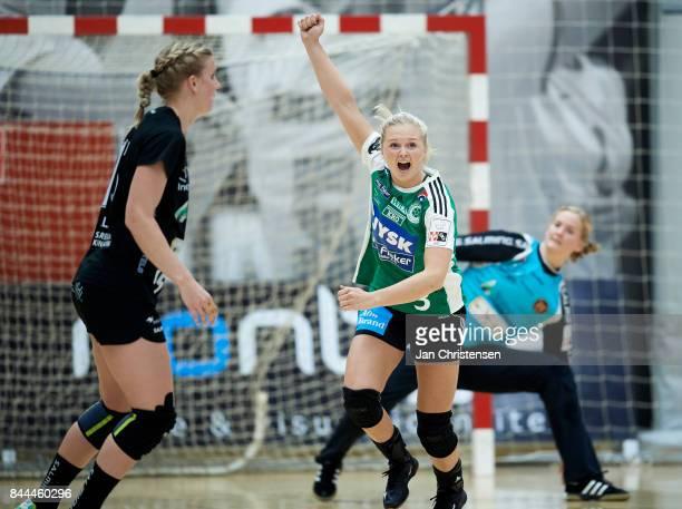 Birgitte Karlsen of Silkeborg Voel celebrate after goal during the Danish HTH Go Ligaen match between Copenhagen Handball and Silkeborg Voel in...
