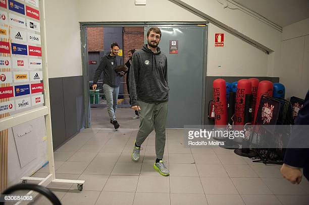 Birkan Batuk #8 of Darussafaka Dogus Istanbul arriving to the Arena prior the 2016/2017 Turkish Airlines EuroLeague Regular Season Round 15 game...