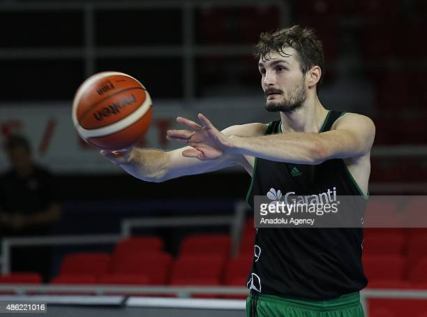 Birkan Batuk of Turkey national basketball team in action during a training session at Abdi Ipekci Sports Hall in Istanbul Turkey on September 2 2015...