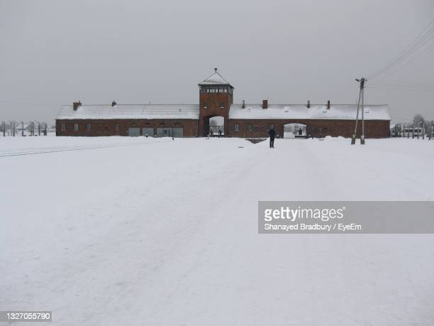 birkenau in the snow - birkenau stock pictures, royalty-free photos & images