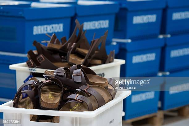 Birkenstock shoes are seen after they were produced at the Alsa GmbH company in Goerlitz eastern Germanyon May 10 2016 / AFP / dpa / Arno Burgi /...
