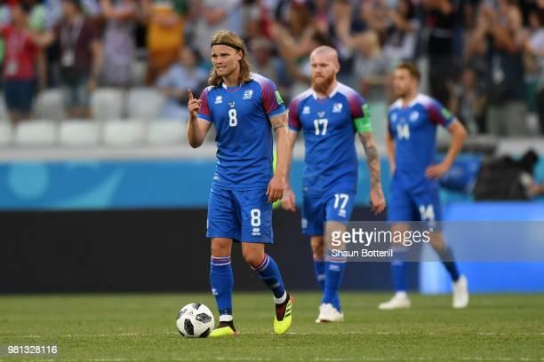 Birkir Bjarnason, Aron Gunnarsson, Kari Arnason of Iceland stand dejected during the 2018 FIFA World Cup Russia group D match between Nigeria and...