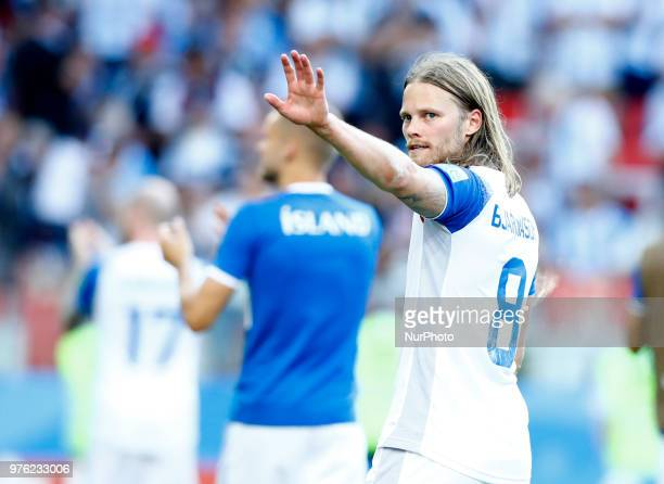 Birkir Bjarnason greeting the supporters during the 2018 FIFA World Cup Russia group D match between Argentina and Iceland at the Spartak Stadium on...