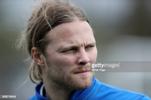 Birkir Bjarnason looks on during the Iceland National Team training session at CEFCU Stadium formerly known as Spartan Stadium on March 21 2018 in...