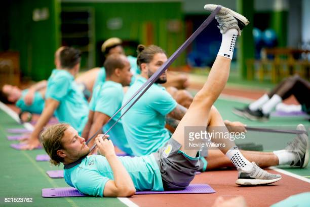 Birkir Bjarnason of Aston Villa during a Aston Villa training session at the club's training camp at Guetersloh on July 24 2017 in Guetersloh Germany