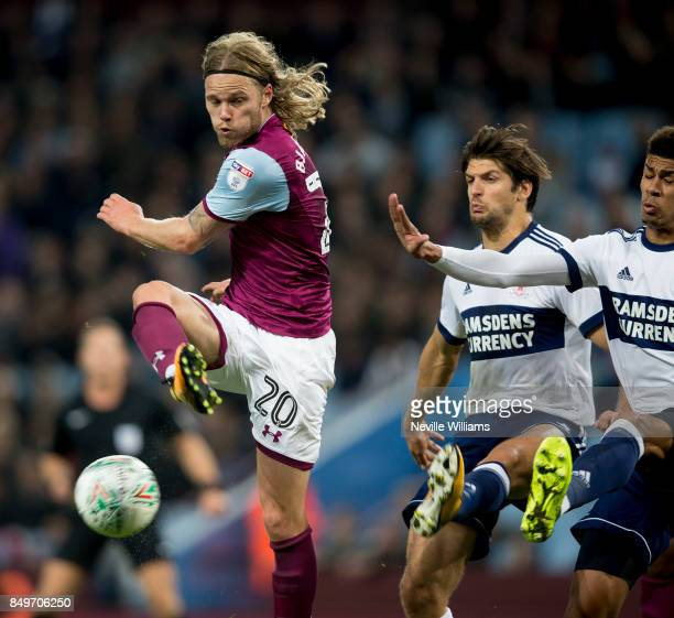 Birkir Bjarnason of Aston Villa during the Carabao Cup Third Round match between Aston Villa and Middlesbrough at the Villa Park on September 19 2017...