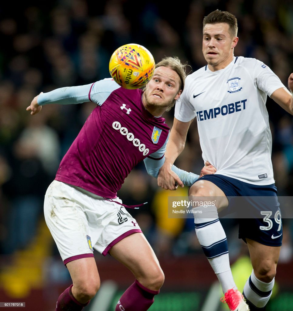 Birkir Bjarnason of Aston Villa during the Sky Bet Championship match between Aston Villa and Preston North End at Villa Park on February 20, 2018 in Birmingham, England.