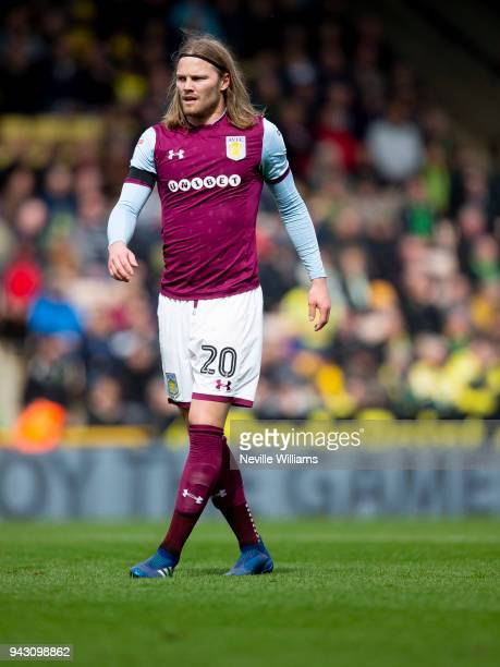 Birkir Bjarnason of Aston Villa during the Sky Bet Championship match between Norwich City and Aston Villa at Carrow Road on April 07 2018 in Norwich...