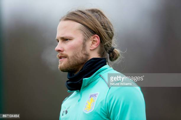 Birkir Bjarnason of Aston Villa in action during a training session at the club's training ground at Bodymoor Heath on December 22 2017 in Birmingham...