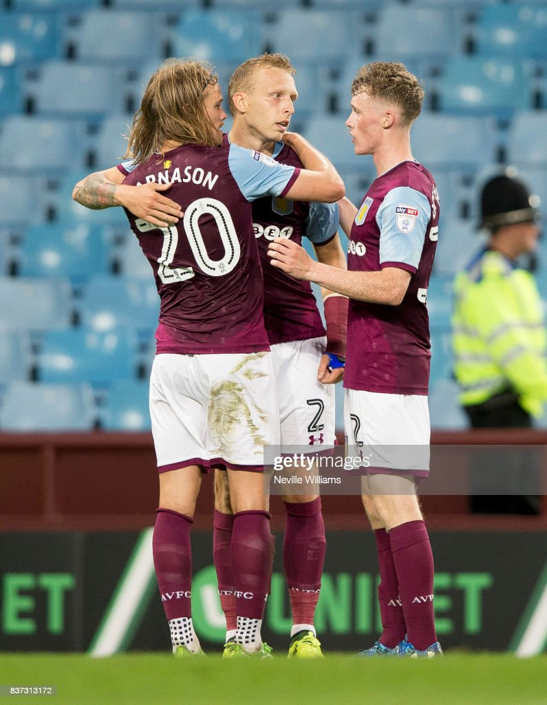 Birkir Bjarnason of Aston Villa scores a goal for Aston Villa during the Carabao Cup Second Round match between Aston Villa and Wigan Athletic at the Villa Park on August 22, 2017 in Birmingham, England.
