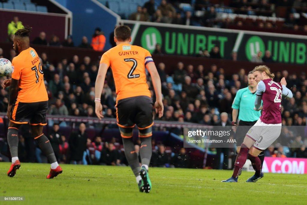 Birkir Bjarnason of Aston Villa scores a goal to make it 1-0 during the Sky Bet Championship match between Aston Villa and Reading at Villa Park on April 2, 2018 in Birmingham, England.