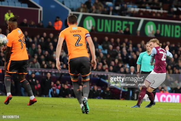 Birkir Bjarnason of Aston Villa scores a goal to make it 10 during the Sky Bet Championship match between Aston Villa and Reading at Villa Park on...