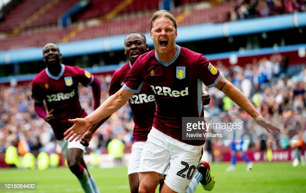 Birkir Bjarnason of Aston Villa scores for Aston Villa during the Sky Bet Championship match between Aston Villa and Wigan Athletic at Villa Park on...