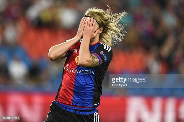 Birkir Bjarnason of Basel looks dejected during the Uefa Champions League match between Basel Fc and PFC Ludogorets Razgrad on September 13 2016 in...