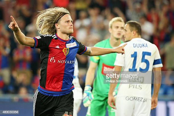 Birkir Bjarnason of FC Basel celebrates after scoring his team's first goal during the UEFA Champions League third qualifying round 2nd leg match...
