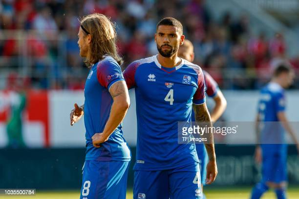 Birkir Bjarnason of Iceland and Gudlaugur Palsso of Iceland looks on during the UEFA Nations League A group two match between Switzerland and Iceland...
