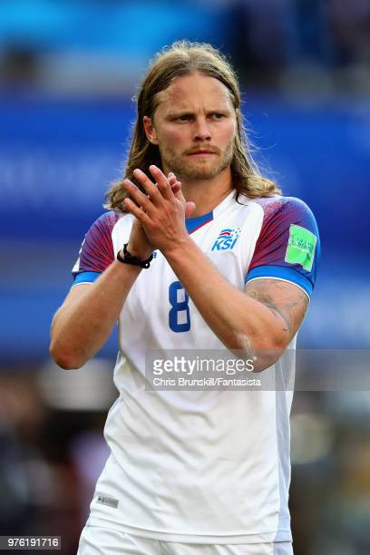 Birkir Bjarnason of Iceland applauds the crowd after the 2018 FIFA World Cup Russia group D match between Argentina and Iceland at Spartak Stadium on...