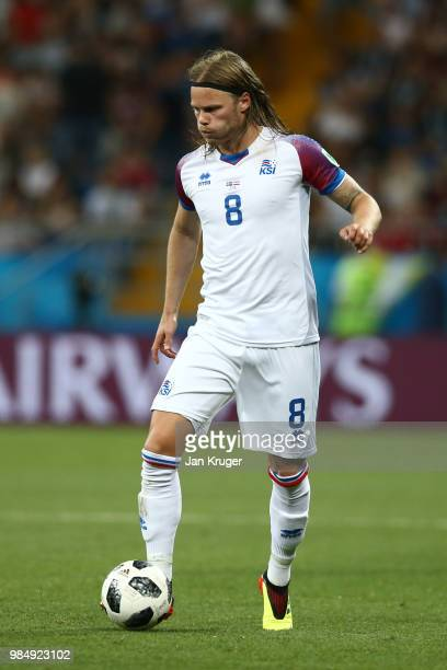 Birkir Bjarnason of Iceland controls the ball during the 2018 FIFA World Cup Russia group D match between Iceland and Croatia at Rostov Arena on June...