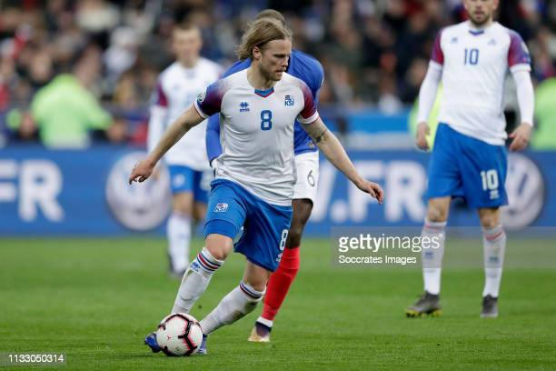 Birkir Bjarnason of Iceland during the EURO Qualifier match between France v Iceland at the Stade de France on March 25, 2019 in Paris France