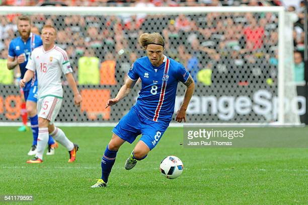 Birkir BJARNASON of Iceland during the UEFA EURO 2016 Group F match between Iceland and Hungary at Stade Velodrome on June 18 2016 in Marseille France