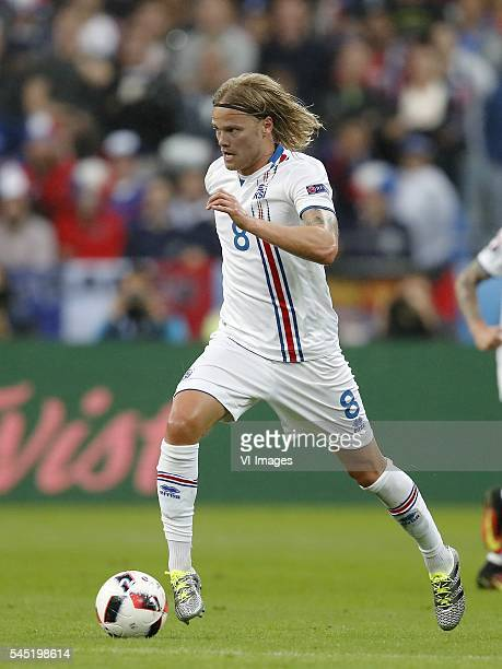 Birkir Bjarnason of Iceland during the UEFA EURO 2016 quarter final match between France and Iceland on July 3 2016 at the Stade de France in Paris...