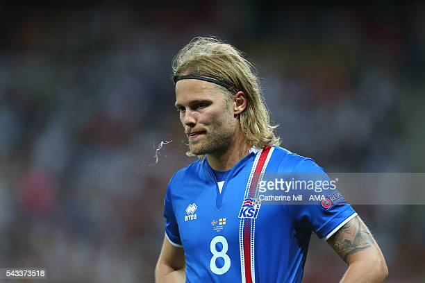 Birkir Bjarnason of Iceland during the UEFA EURO 2016 Round of 16 match between England and Iceland at Allianz Riviera Stadium on June 27 2016 in...