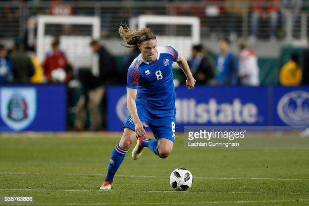 Birkir Bjarnason of Iceland in action against Mexico during their match at Levi's Stadium on March 23 2018 in Santa Clara California