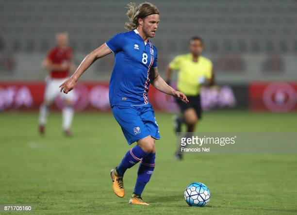 Birkir Bjarnason of Iceland in action during the international friendly match between Iceland and Czech Republic at Abdullah bin Khalifa Stadium on...