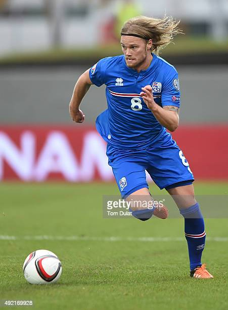 Birkir Bjarnason of Iceland in action during the UEFA EURO 2016 Qualifier match between Iceland and Latvia at Laugardalsvollur National Stadium on...