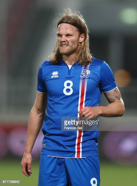 Birkir Bjarnason of Iceland looks on during the international friendly match between Iceland and Czech Republic at Abdullah bin Khalifa Stadium on...