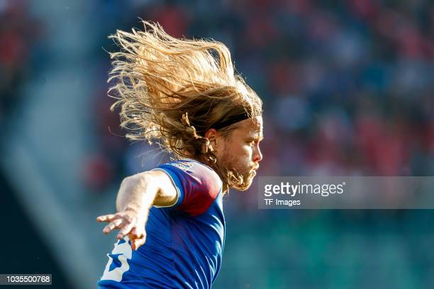 Birkir Bjarnason of Iceland looks on during the UEFA Nations League A group two match between Switzerland and Iceland at Kybunpark on September 8...