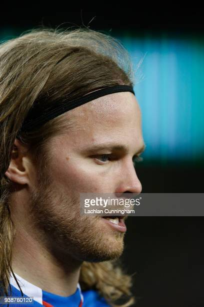 Birkir Bjarnason of Iceland looks on during their match against Mexico at Levi's Stadium on March 23 2018 in Santa Clara California