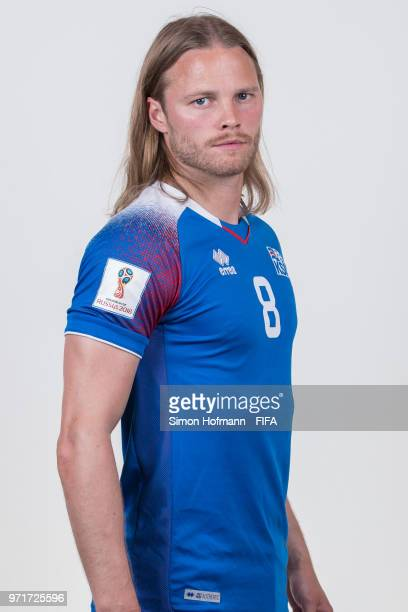 Birkir Bjarnason of Iceland poses during the official FIFA World Cup 2018 portrait session at Resort Centre Nadezhda on June 11 2018 in Gelendzhik...