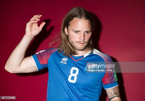 Birkir Bjarnason of Iceland poses for a picture during the official FIFA World Cup 2018 portrait session at on June 11 2018 in Gelendzhik Russia