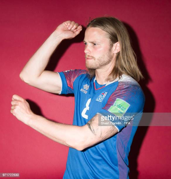 Birkir Bjarnason of Iceland poses for a picture during the official FIFA World Cup 2018 portrait session at on June 11, 2018 in Gelendzhik, Russia.