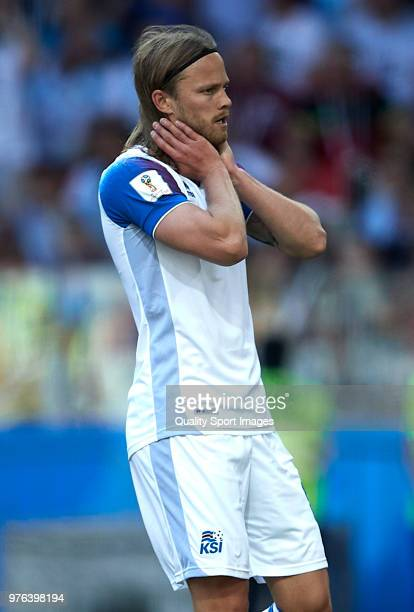 Birkir Bjarnason of Iceland reacts during the 2018 FIFA World Cup Russia group D match between Argentina and Iceland at Spartak Stadium on June 16...