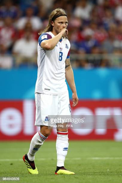 Birkir Bjarnason of Iceland reacts during the 2018 FIFA World Cup Russia group D match between Iceland and Croatia at Rostov Arena on June 26 2018 in...