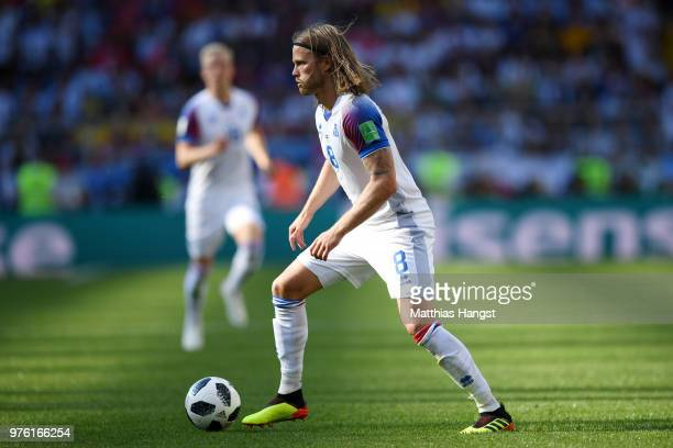 Birkir Bjarnason of Iceland runs with the ball during the 2018 FIFA World Cup Russia group D match between Argentina and Iceland at Spartak Stadium...