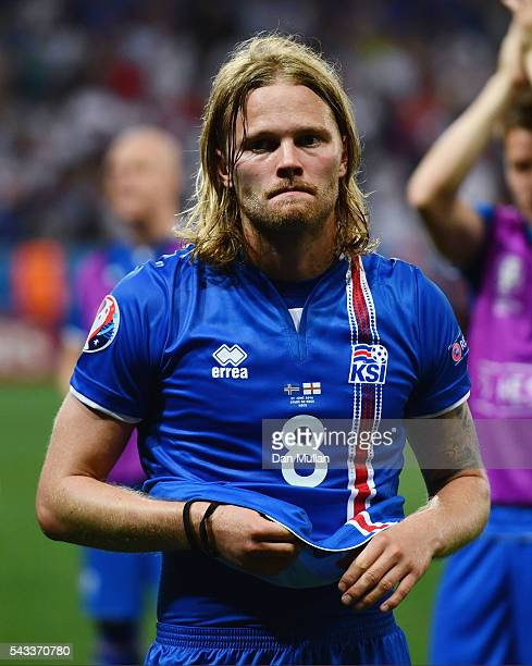 Birkir Bjarnason of Iceland shows his emotion after his team's 21 win after the UEFA EURO 2016 round of 16 match between England and Iceland at...