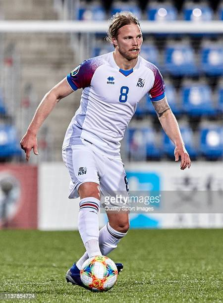 Birkir Bjarnason of Iceland with the ball during the 2020 UEFA European Championships group H qualifying match between Andorra and Iceland at Estadi...