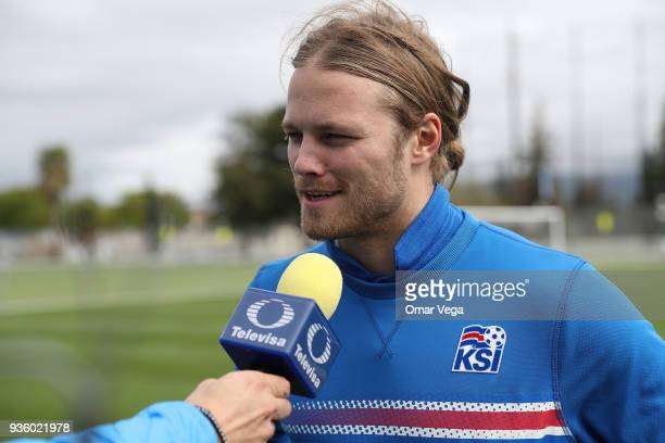 Birkir Bjarnason speaks to the press during the Iceland National Team training session at CEFCU Stadium formerly known as Spartan Stadium on March 21...