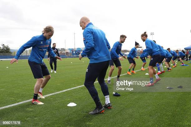 Birkir Bjarnason warms up during the Iceland National Team training session at CEFCU Stadium formerly known as Spartan Stadium on March 21 2018 in...